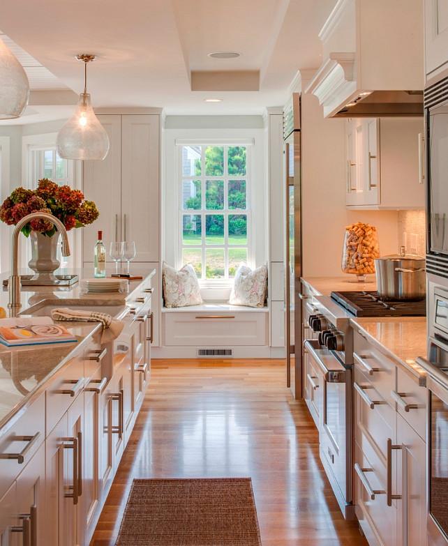 Kitchen Ideas. Simple kitchen idea - add a window-seat and plenty of counter space. #KitchenIdeas #Kitchen  Polhemus Savery DaSilva.