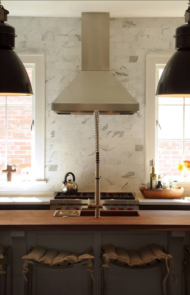 Kitchen Ideas. Transitional Kitchen Ideas. Transitional Kitchen with marble subway tiles as backsplash. #TransitionalKitchen #TransitionalKitchenIdeas #TransitionalKitchenDesign Allard Ward Architects.