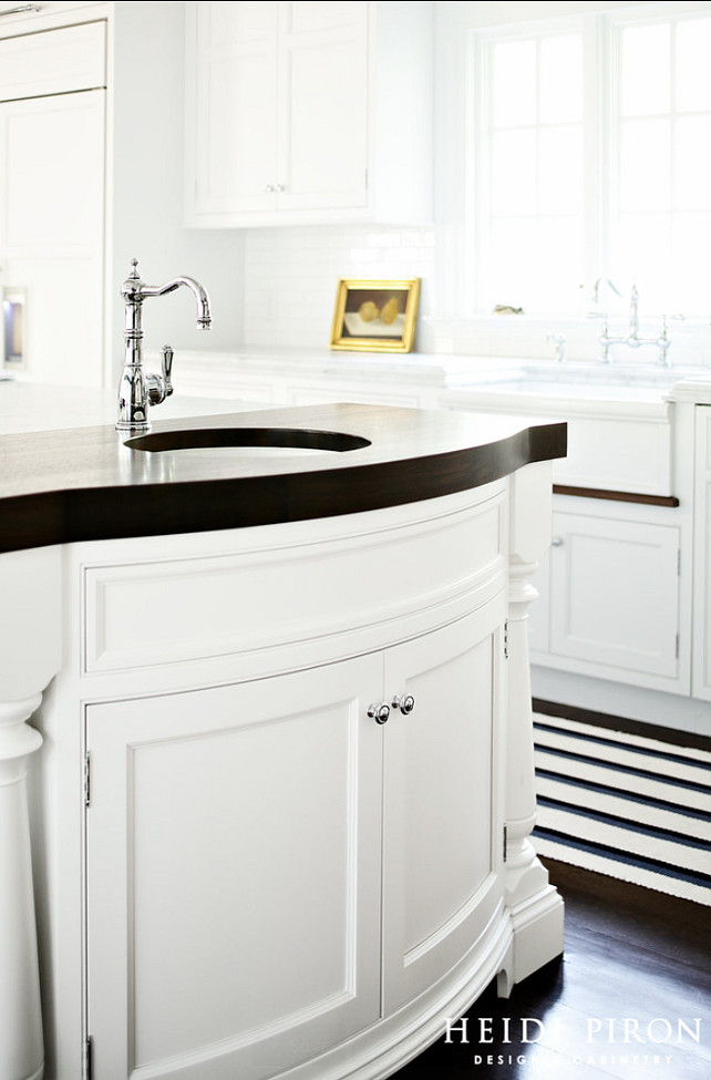 Kitchen Island Countertop Ideas. The island's Peruvian walnut was selected for it's naturally dark brown color. Butcher block countertop. #Butcherblock #Butcherblockcountertop.