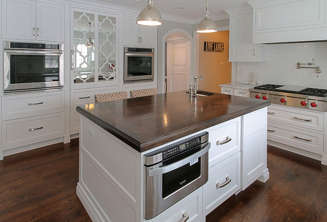 Kitchen Island with Microwave Drawer. White Kitchen. Island with Microwave. Island with Microwave Layout. #KitchenIsland #Microwave Redstart Construction