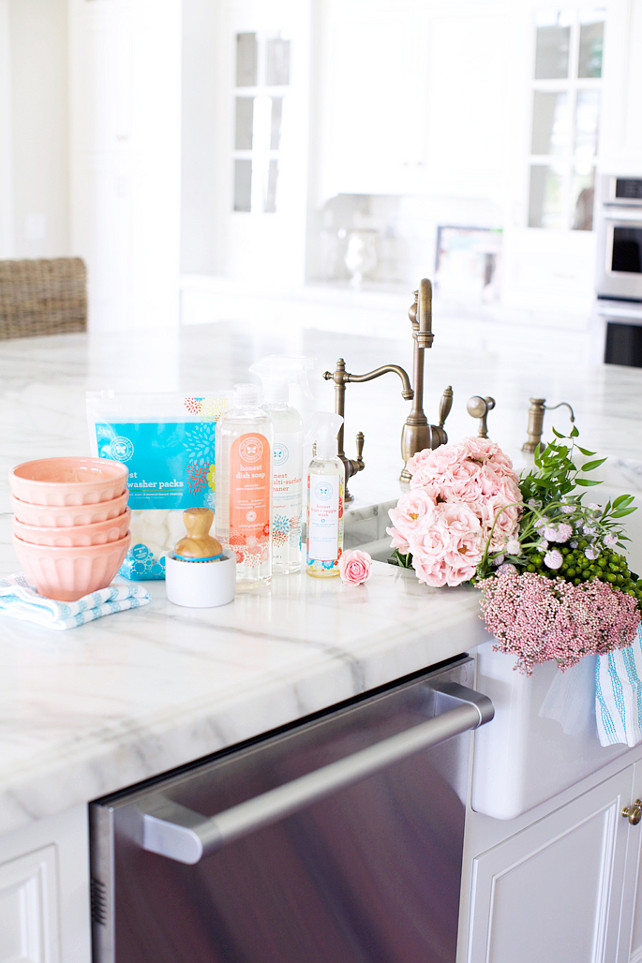 Kitchen Island with apron sink and faucet. Pink Peonies.
