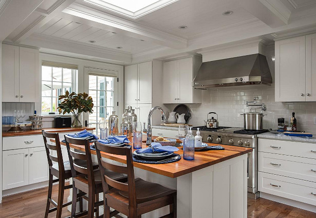 Kitchen Island. A large skylight was added above the island instead of pendants. #KitchenIsland