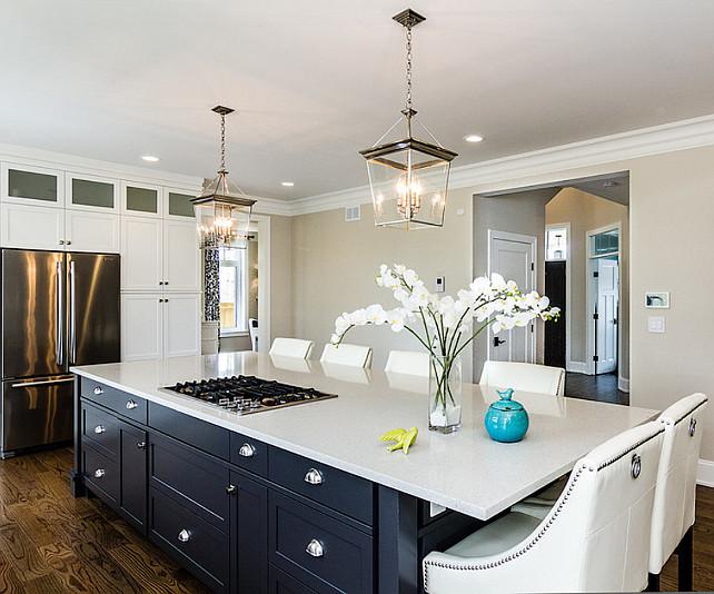 Kitchen Island. Crisp white kitchen with ebony island. #Kitchen