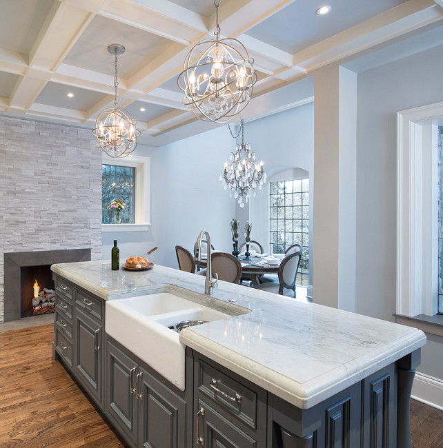Kitchen Island. Gray Kitchen Island Paint Color. Gray Kitchen Island Design. Kitchen Island with farmhouse sink and gooseneck faucet. #Kitchen #KitchenIsland #GrayKitchenIsland #IslandPaintColor Kitchen Studio Kansas City.