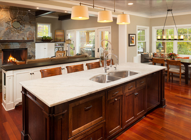Kitchen Island. Kitchen Island Ideas. Large island with sink and marble countertop. #KitchenIsland #IslandWhiteMarble Designed by Kyle Hunt & Partners, Incorporated.