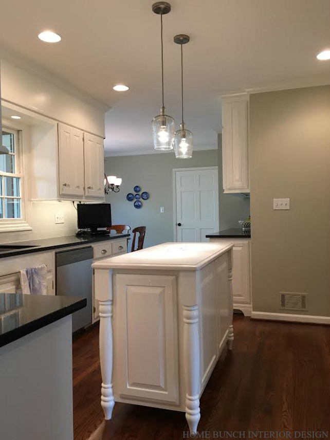 Kitchen Island. Kitchen Island Ideas. White Kitchen Island. Gray Kitchen with white Kitchen Island. #KitchenIsland #WhiteKitchenIsland #Kitchen Home Bunch Interior Design.