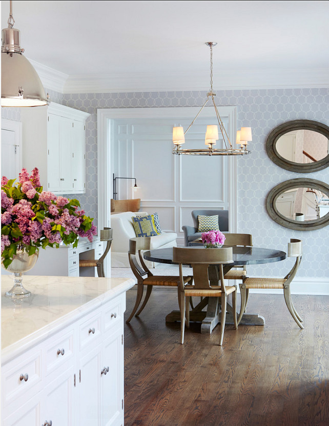 "Kitchen Lighting Ideas. Pendant Ligthing above island are by Ralph Lauren. Chandelier lighting above table is from William-Sonoma Home. Wallpaper is the ""Schumacher Tracery Wisteria Wallpaper"". #Kitchen #Lighting"