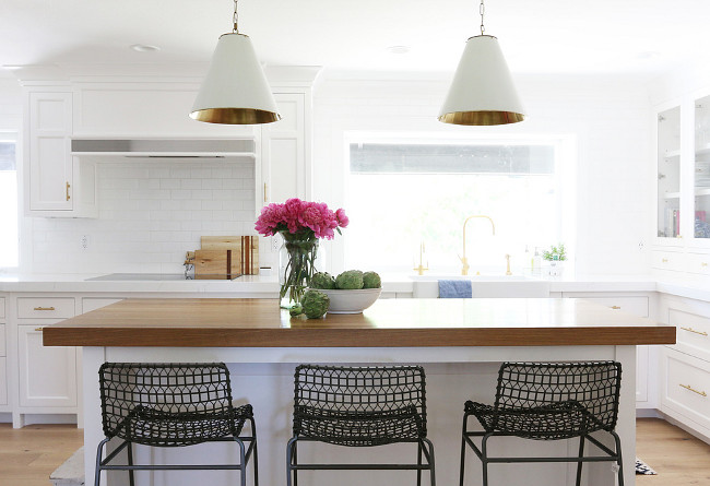 Kitchen Lighting Pendants. kitchen featuring a pair of white and gold pendants, Oversized Cone Shade Pendants. Shea McGee Design.