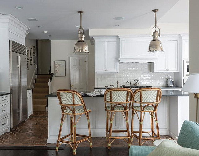 Kitchen Lighting. Kitchen features a pair of Country Industrial Pendants with Metal Shades. Kitchen Lighting Pendants. #Kitchen #KitchenLighting #KitchenPendant  Dungan Nequette Architects.