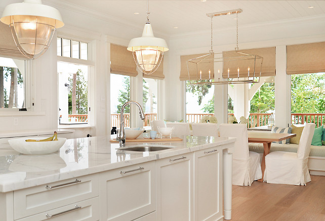 Linear Lighting. Linear Chandelier. The dining room lighting is the Darlana Linear Pendant from Circa Lighting. #Kitchen #DarlanaLinearPendant #LinearChandelier #LinearLighting Sunshine Coast Home Design.