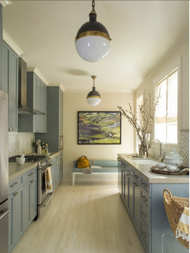 "Kitchen Paint Color. Kitchen Cabinet Paint Color is ""Christopher Peacock CPPI-22 Cookham Gray"". Wall Paint Color is ""Benjamin Moore OC-1 Natural Wicker"". Angela Free Design."