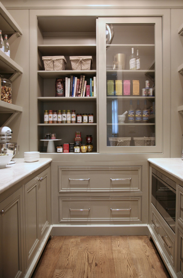 Warm white kitchen design gray butler s pantry home for Pantry closet design ideas
