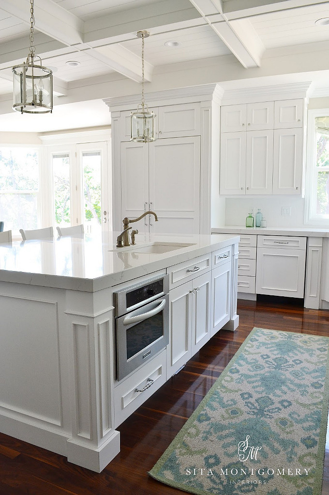 Kitchen Island with microwave oven by sink and dishwasher. #KItchen #KItchenIsland #Microwave #Sink #Dishwasher Kitchen Island Appliance Layout.  Sita Montgomery Interiors.