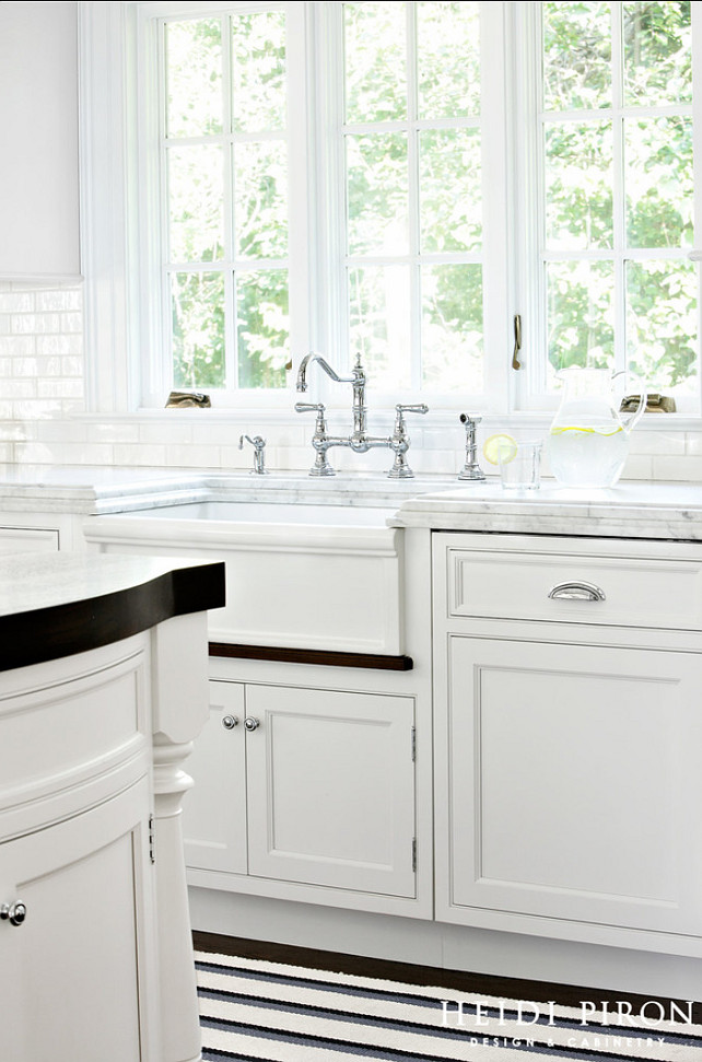 Kitchen Sink. Farmhouse Sink. Apron Sink. The farm sink is given a more decorative design on the front with the addition of a walnut water catching wood strip below. #Sink #KitchenSink