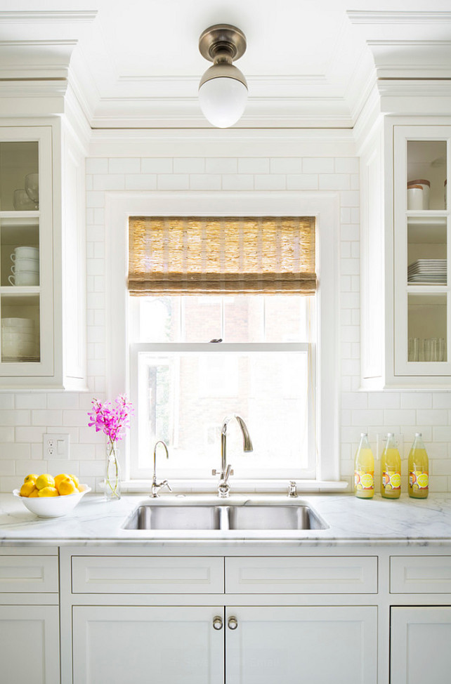 Kitchen Wall Tile Ideas. Kitchen with counter to ceiling subway tiles. The counter to ceiling tiles are 3 x 6 Sonoma Square Edge in Super White. Backsplash Up to Ceiling Ideas. Martha O'Hara Interiors.