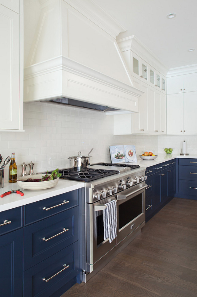 Top Two-Toned Kitchen Pin Blue and White Two Toned Kitchen Paint Color. Kitchen cabinet. Two-toned Kitchen Cabinet Ideas #TwoTonedKitchen #Kitchen #KitchenCabinet Kelly Deck Design
