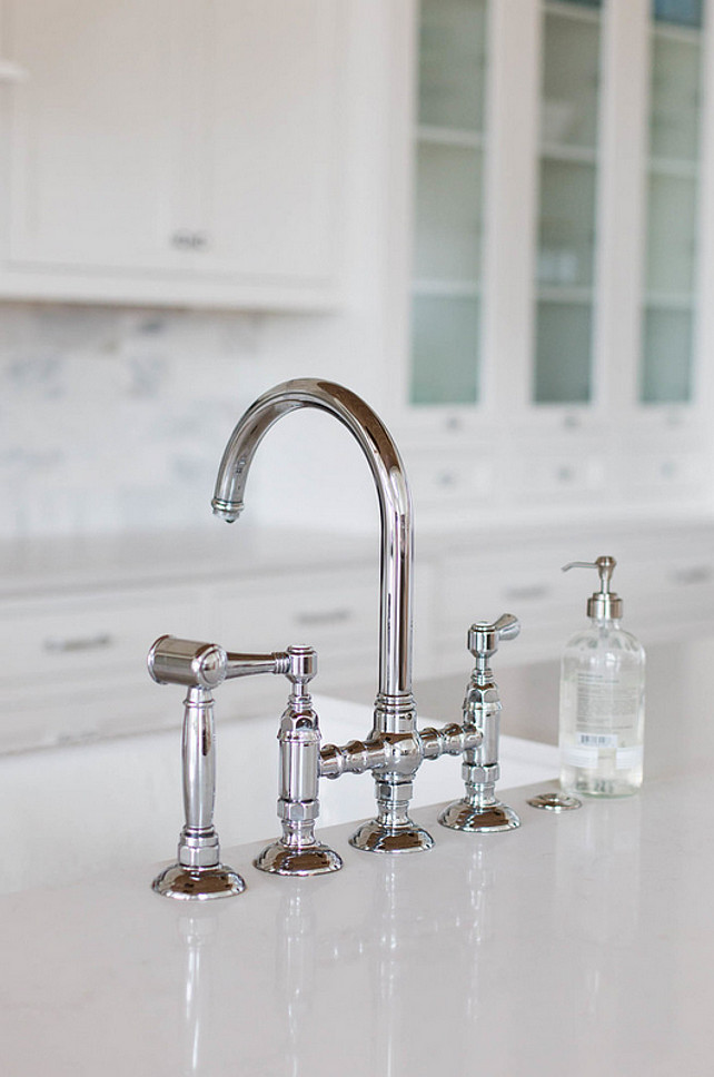 Kitchen faucet. Kitchen Faucet Ideas. high Quality Kitchen Faucet. The kitchen faucet is the Rohl Polished Nickel Country Kitchen Three Leg Bridge Faucet.