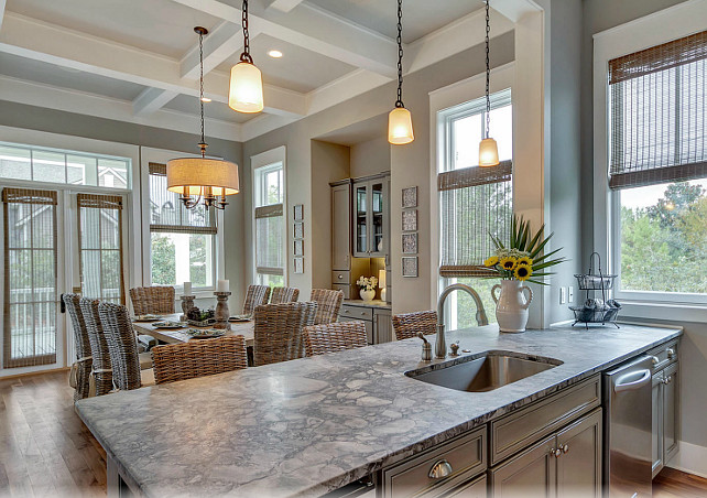 Kitchen island with granite countertop. Granite kitchen countertop. #Granite #Kitchen