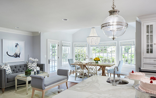 Kitchen opens to breakfast room and a seating room. Kitchen opens to breakfast room and a seating room. Martha O'Hara Interiors.