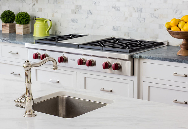 Kitchen prep sink with Rohl faucet. Classic kitchen prep sink with polished nickel faucet. #prepsink #kitchen #island #rohl #faucet #marble Connecticut Stone.