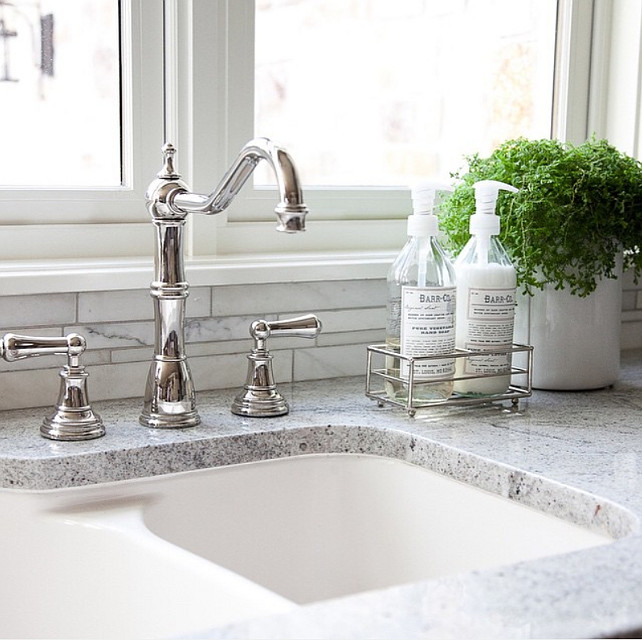 Kitchen sink and faucet combo. Alice Lane Home Collection.