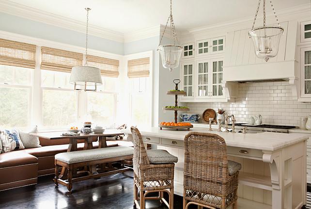 Kitchen with Wiwndow Seat Banquette. #Kitchen #WindowSeat #Banquette  Thornton Designs.