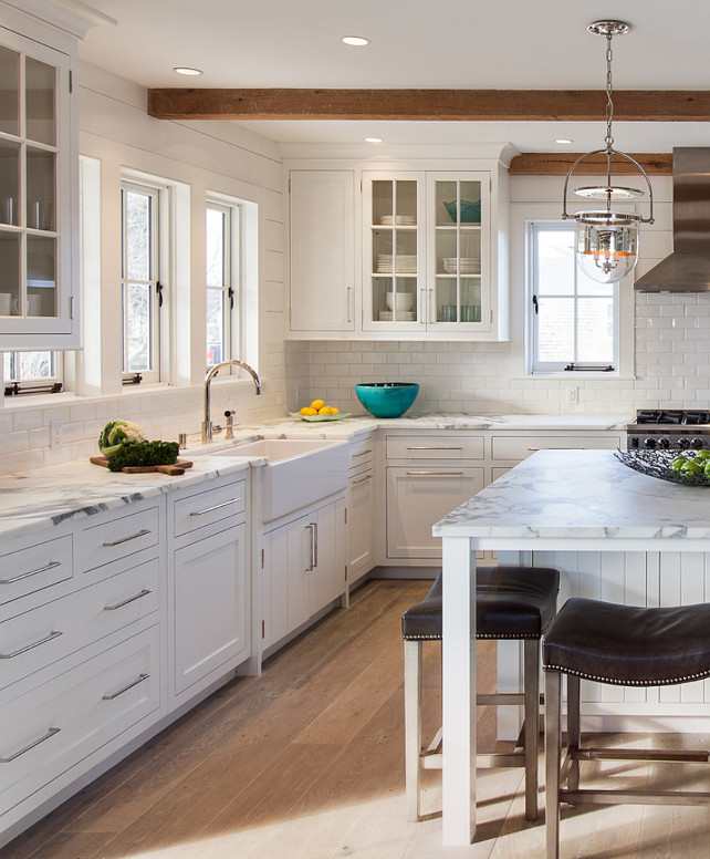 "Top Shiplap Kitchen Pin ""Kitchen walls with shiplap and subway tiles."". Kitchen with bleached hardwood floors plank walls. #Kitchen #BleachedHardwood #BleachedFlooring #Plank #KitchenPlank #PlankWalls Jonathan Raith Inc."