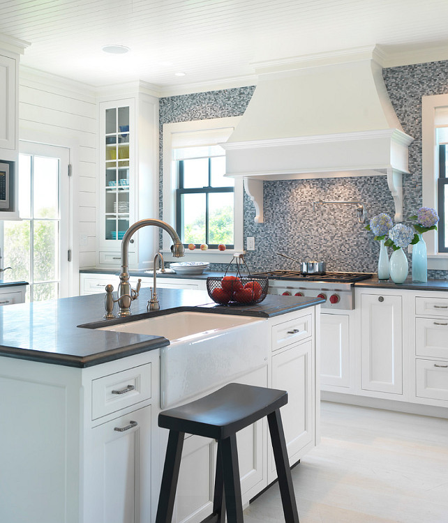 Kitchen. Beaboard Kitchen. Beadboard Ceiling Kitchen. White Beadboard Kitchen Ceiling. Kitchen with beadboard ceiling, and a glass mosaic tile backsplash from ARTISTIC tile. #Kitchen #Beadboard #BeadboardCeiling #KitchenBeadboardCeiling