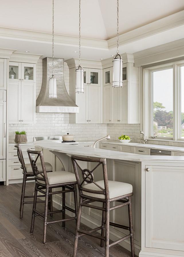 Kitchen. Curved Kitchen Island with Curved Marble Counter Top. #Kitchen #KitchenIsland #CurvedKitchenIsland  Anita Clark Design.