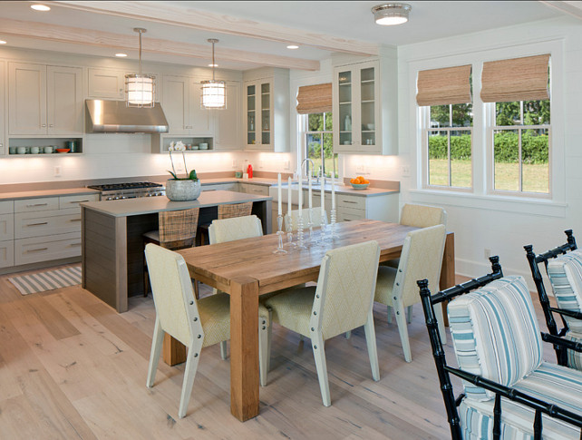 "Kitchen. Gray Kitchen Ideas. Small Kitchen with Gray Cabinets. The pendants above island are the ""Ralph Lauren Andover Pendant"". #KItchen #SmallKitchen #GrayKitchen #GrayKitchenDesign"