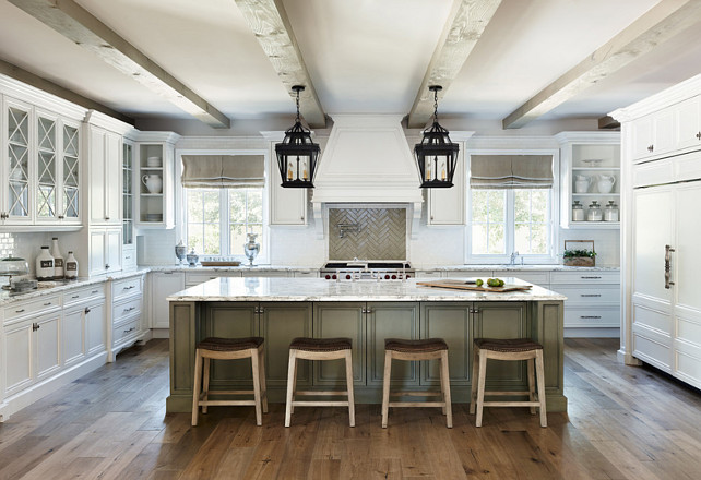 Kitchen. Kitchen Beams. Kitchen Flooring. Kitchen Island Paint Color. Cream white Kitchen. Kitchen Hood. #Kitchen Palm Design Group.