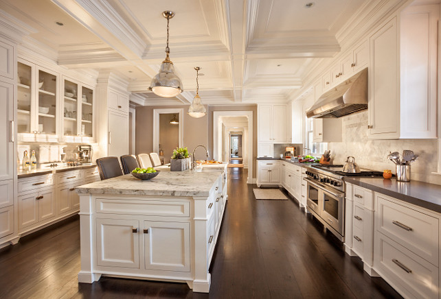 Kitchen. Kitchen Cabinet Paint Color. Kitchen Countertop. Kitchen Hardwood Flooring, Kitchen Coffered Ceiling. Kitchen Lighting. Open Kitchen Concept. Kitchen Layout. Kitchen Layout Ideas. Kitchen Cabinet Layout. #Kitchen