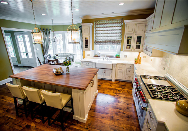 """Kitchen. Kitchen Design Ideas. White Kitchen with custom cabinets. Kitchen Layout Ideas. Kitchen Cabinet Paint Color is Kitchen Paint Color is """"Benjamin Moore Dove White OC-17"""". #Kitchen #WhiteKitchen #KitchenLayout #KitchenLayoutIdeas"""