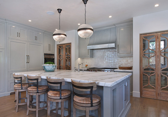 Kitchen. Kitchen Ideas. Gray Kitchen with calacatta gold marble countertop. #Kitchen