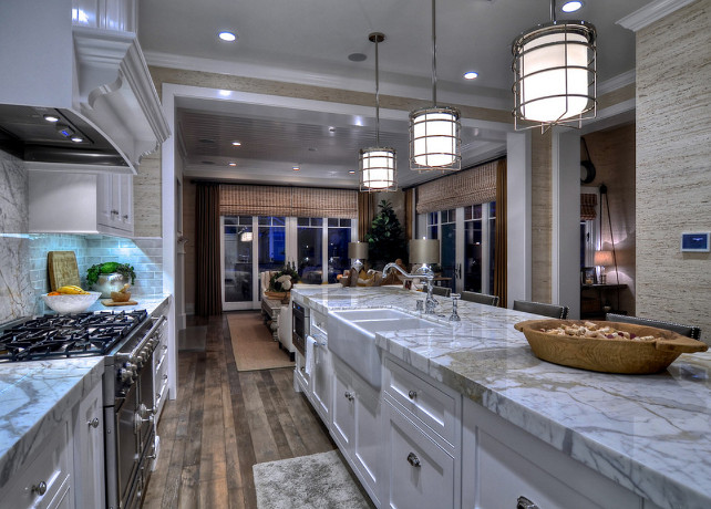 Kitchen. Kitchen Ideas. Kitchen Design. Kitchen Lighting Ideas. Wire lanterns hang above the island, adding to the bright, clean feel. #Kitchen #KitchenLighting #KitchenDesign #KitchenLighting