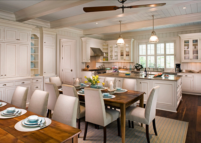 Kitchen. Off-white kitchen paint color. Paint color in this kitchen is Sherwin Williams Creamy SW7012