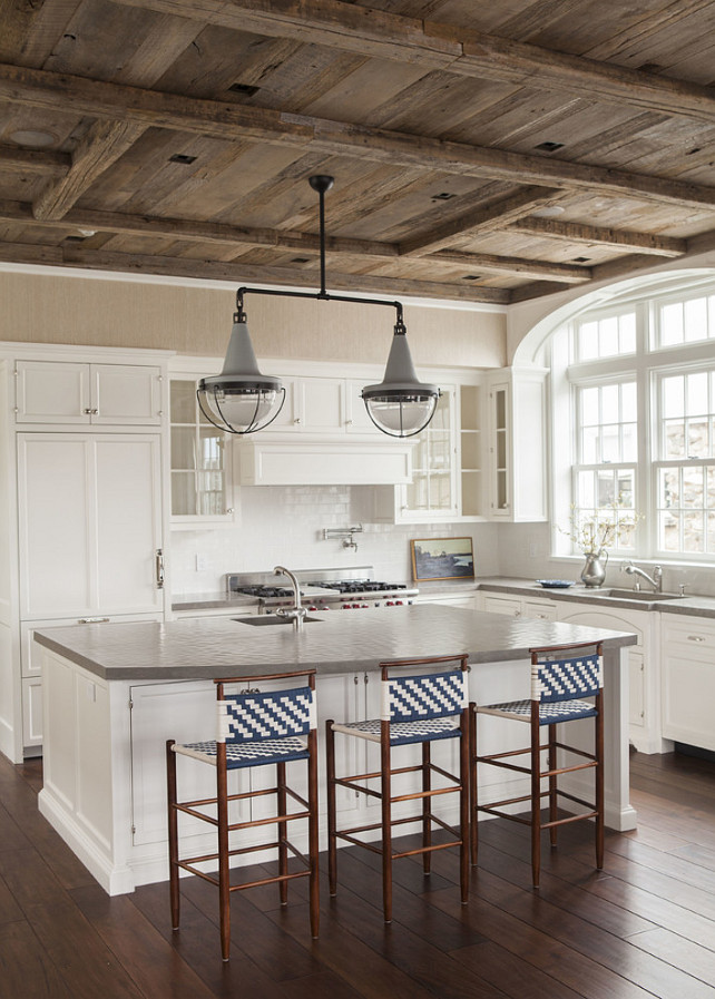 Kitchen. Reclaimed Wood Kitchen. White Kitchen with reclaimed Ceiling. Cottage with with reclaimed barn wood ceiling. #Kitchen #Barnwood #ReclaimedWood #ReclaimedWoodCeiling