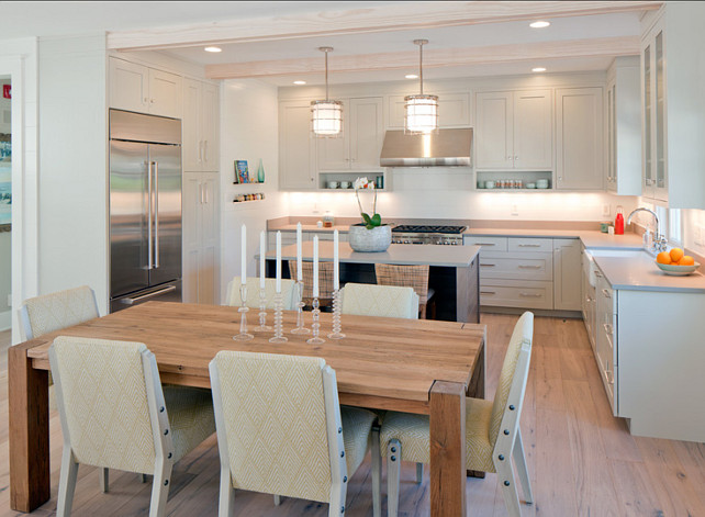 Kitchen. Small Kitchen Ideas. Small Kitchen Design. Small kitchen with pale gray cabinets. The pendants above island are the Ralph Lauren Andover Pendant. #KItchen #GrayKitchen #PaleGray #SmallKitchenIdeas SmallKitchenDesign