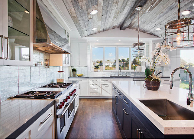 Kitchen. Transitional kitchen ideas. Transitional kitchen layout. The wood used on the ceiling is vintage barn siding.  #TransitionalKitchen