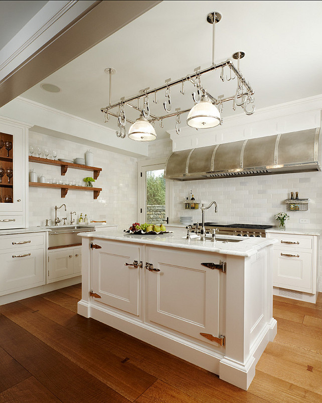 kitchen white kitchen with pot rack pot rack is from ann morris inc