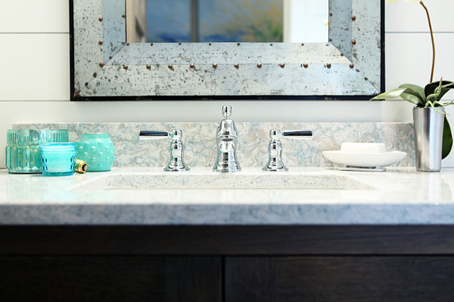 Kohler Bathroom Faucet and Cambria Quartz Countertop. The countertop is quartz- Montgomery by Cambria. Michele Skinner.
