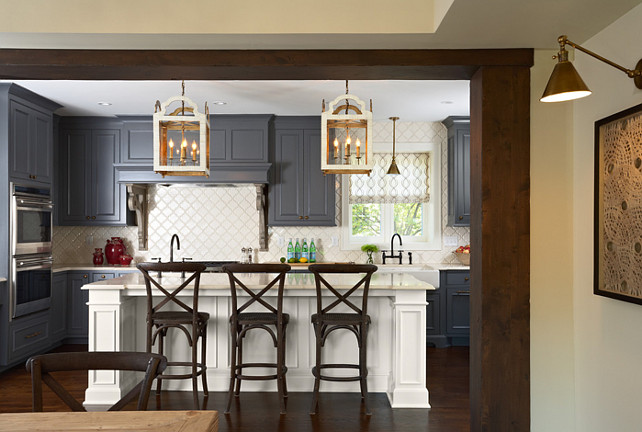 Ktchen. Charcoal Kitchen with White Island. #Charcoal #Kitchen #White #Island Designed by Sarah Nardi of Elsie Interior.