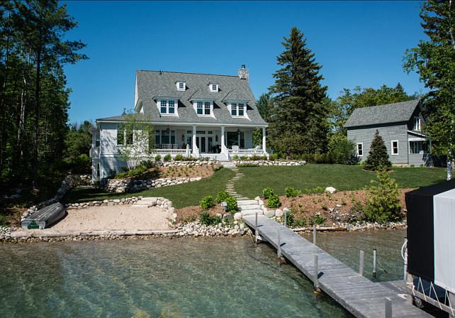 Lake House. Beautiful lake house with coastal interiors. #LakeHouse #CoastalInteriors