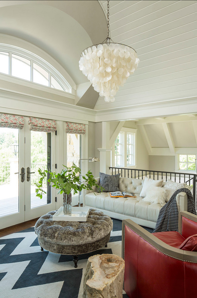 Landing Area. Great family room was designed on the spacious landing area. Chandelier is similar to the worlds away capiz chandelier. #FamilyRoom #LandingArea