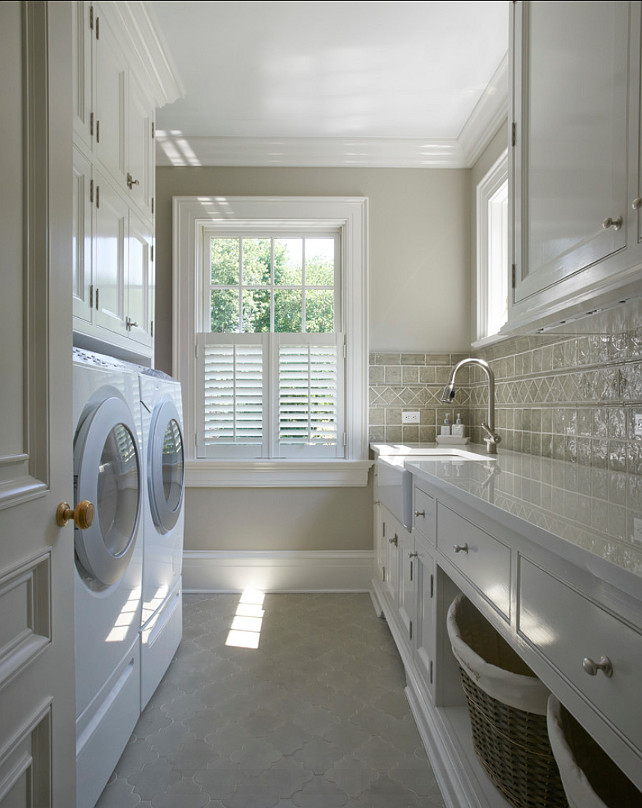 Laundry Room Design Ideas. The tile flooring in this laundry room is Fine Art Tileworks 4 x 4 with a 3 x 3 Fleur de Lys inset. The color is Celadon