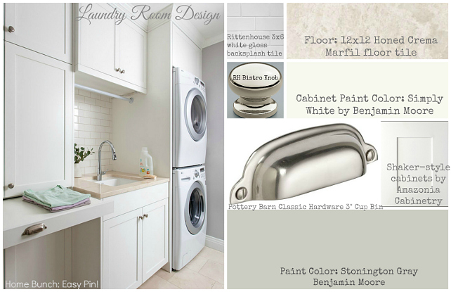Laundry Design Ideas. All that you need to design a Laundry Room. Cabinet Source, paint color, hardware, flooring, backsplash. #HomeBunchEasyPin #LaundryRoom #LaundryRoomDesign #LaundryRoomDecor