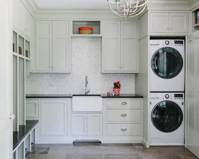 Laundry Room. Laundry Room Cabinets. Laundry Room Layout. Laundry Room Paint Color is Revere Pewter Benjamin Moore. Laundry Room Sink is by The Whitehaus Collection. #LaundryRoom #LaundryRoomCabinet #LaundryRoomLayout #LaundryRoomPaintColor #ReverePewter #LaundryRoom