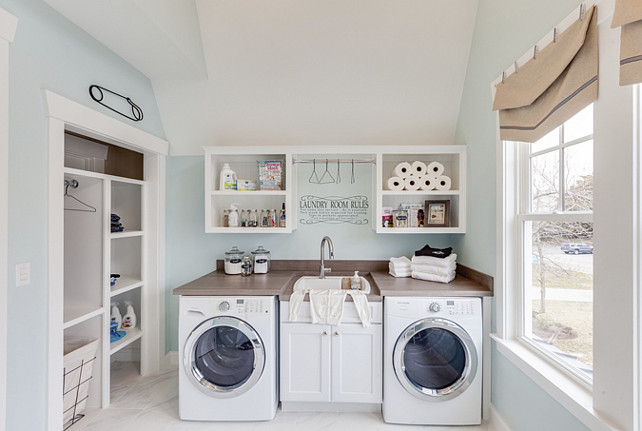 Laundry Room. Blue Aqua Laundry Room. Turquoise Laundry Room. The turquoise aqua laundry room paint color is Sherwin Williams SW 6477 Tidewater. #LaundryRoom #paintColor