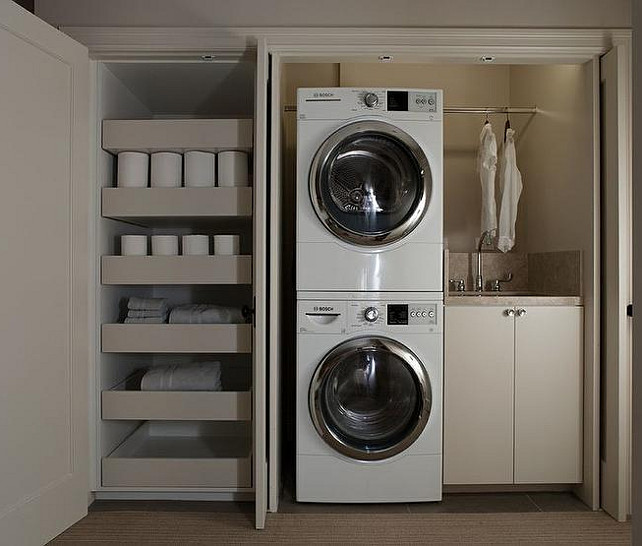 Laundry Room. Closet Laundry Room. Apartment Laundry Room. Upper Level Laundry Room. Small Closet Laundry Room with Sink. Closet Laundry Room with sink and shelves. #LaundryRoom K G Bell.