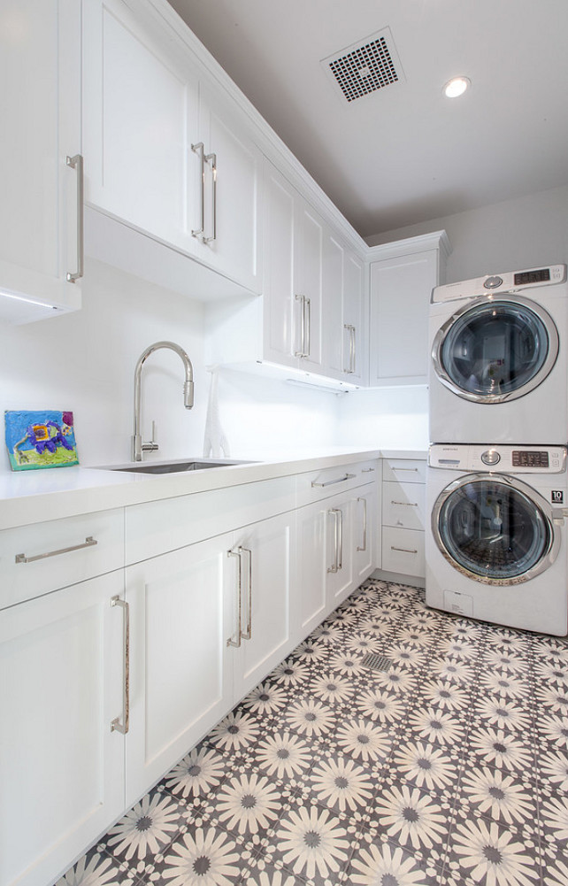 Laundry Room. Flooring Laundry Room. Laundry Room Flooring Ideas. Laundry Room Tile Flooring Ideas. #LaundryRoom #LaundryRoomFlooring #Flooring #Tiles White Picket Fence, Inc.